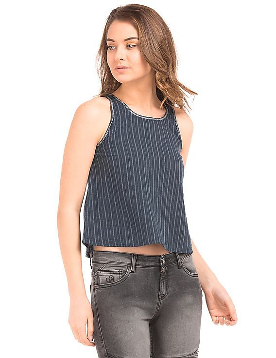Buy Women Striped Weave Sleeveless Top online at NNNOW.com f2a0d5981b