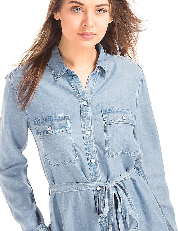 4730d349a7c Buy Women Tencel Denim Tie Belt Shirt Dress online at NNNOW.com