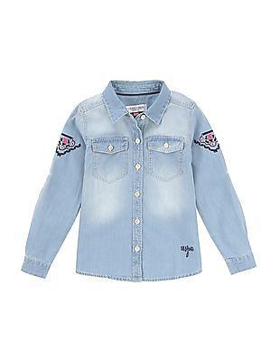 U.S. Polo Assn. Kids Girls Washed Denim Shirt