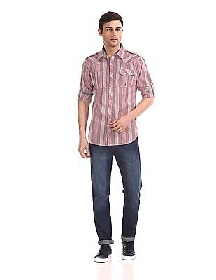 Flying Machine Roll Up Sleeve Check Shirt