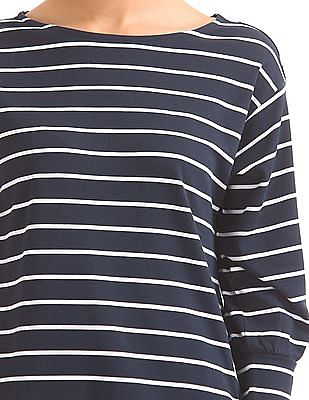 Nautica 3/4 Sleeve Top With Snap Closure Detail