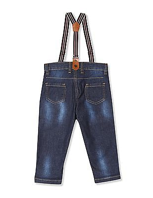 Donuts Blue Boys Dark Wash Jeans With Suspenders