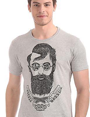 Flying Machine Grey Crew Neck Graphic T-Shirt