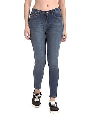 Flying Machine Women Blue Veronica Skinny Fit Whiskered Jeans