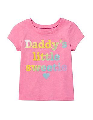 The Children's Place Baby And Toddler Girl Short Sleeve Glitter 'Daddy's Little Sweetie' Graphic Tee