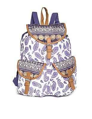 Bronz Paisley Print Canvas Backpack