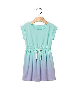 GAP Baby Blue Print Tie Waist Dress