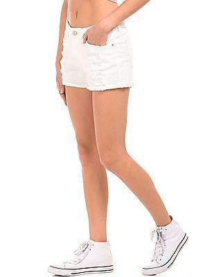 Elle Distressed Regular Fit Denim Shorts