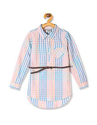 Cherokee Girls Belted Check Tunic