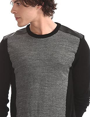 Flying Machine Grey Crew Neck Colour Block Sweater
