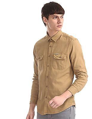 U.S. Polo Assn. Denim Co. Yellow Slim Fit Flap Pocket Shirt