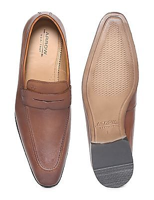 Arrow Burnished Leather Penny Loafers