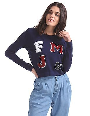 Flying Machine Women Terry Embroidered Flatknit Top