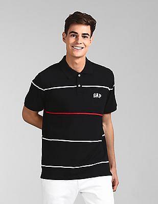 GAP Black Brand Logo Striped Polo Shirt