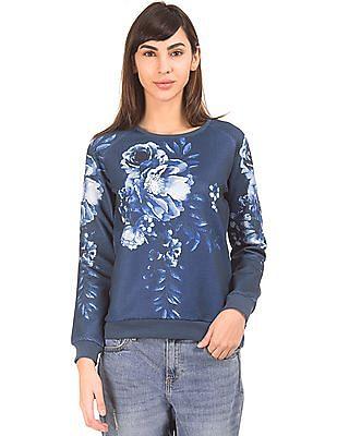 Elle Floral Print Round Neck Sweatshirt