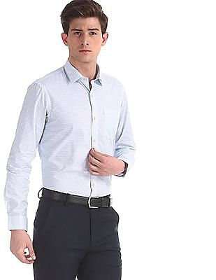 Arrow Newyork Blue Mitered Cuff Printed Shirt