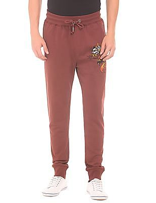 Ed Hardy Slim Fit Contrast Printed Joggers