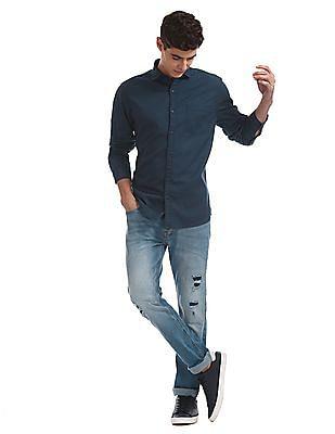 Ruggers Blue Regular Fit Solid Shirt