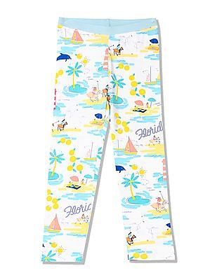 U.S. Polo Assn. Kids Girls Elasticized Waist Printed Leggings