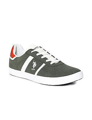 U.S. Polo Assn. Green Perforated Mid Top Sneakers
