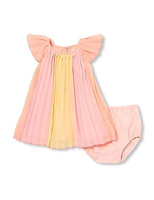 6abf1e4c8d1 The Children s Place Baby Girls Short Sleeve Pleated Woven Dress And  Bloomers Set