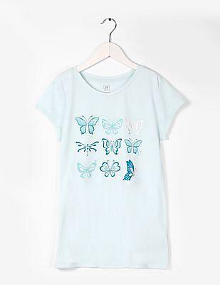 GAP Girls Graphic Print Round Neck T-Shirt