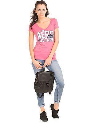 Aeropostale Distressed Graphic Print T-Shirt