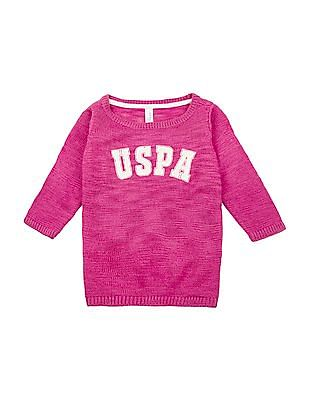 U.S. Polo Assn. Kids Girls Brand Print Sweater Top