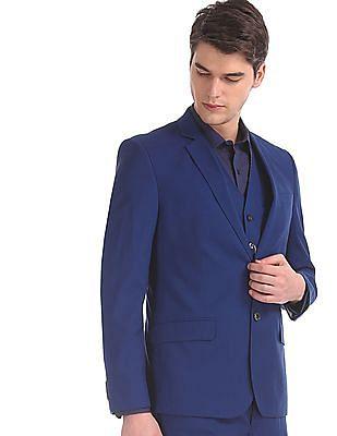 Arrow Newyork Blue Body Tailored Regular Fit Three Piece Suit