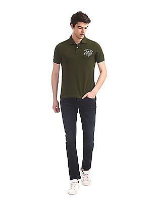 U.S. Polo Assn. Denim Co. Green Printed Back Pique Polo Shirt