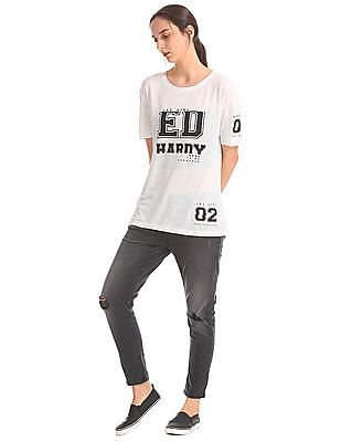 EdHardy Women Printed Boxy T-shirt