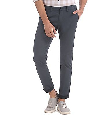 U.S. Polo Assn. Blue Austin Trim Regular Fit Patterned Trousers