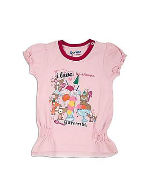 Donuts Girls Smocked Printed Top