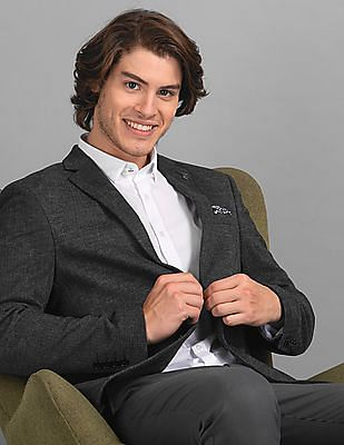 True Blue Black Slim Fit Chevron Pattern Blazer