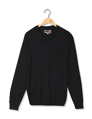 Flying Machine Henley Neck Solid Sweater