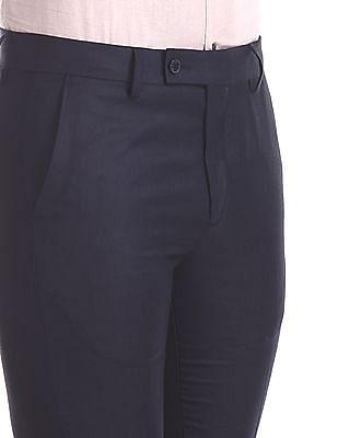 Arrow Blue Slim Fit Patterned Trousers