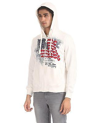 U.S. Polo Assn. White Brand Print Zip-Up Sweatshirt