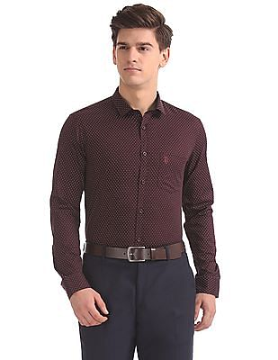 USPA Tailored Slim Fit Paisley Print Shirt