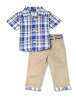 The Children's Place Baby Assorted Short Sleeve Plaid Poplin Button Down Shirt And Belted Woven Roll Cuff Chino Pants Set