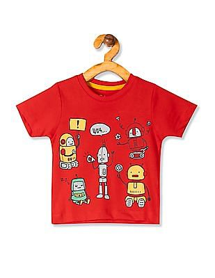 Donuts Red Boys Cotton Jersey Graphic T-Shirt