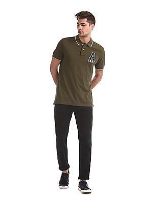 Aeropostale Green Brand Applique Cotton Polo Shirt