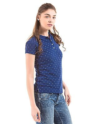 Flying Machine Women Polka Print Regular Fit Polo Shirt