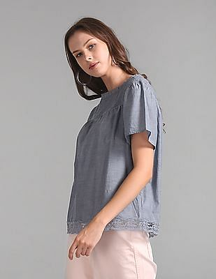 GAP Lace-Trim Chambray Flutter Sleeve Blouse