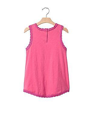 GAP Girls Pink Crochet Trim Tank