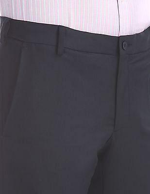 Excalibur Blue Mid Rise Flat Front Trousers