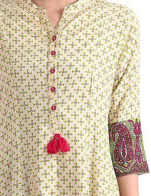 Anahi Mandarin Collar Printed Kurta