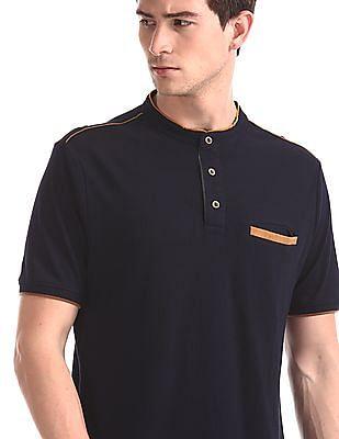 Cherokee Blue Band Collar Pique Polo Shirt