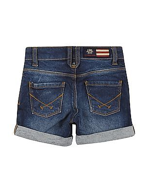 U.S. Polo Assn. Kids Girls Whiskered Denim Shorts