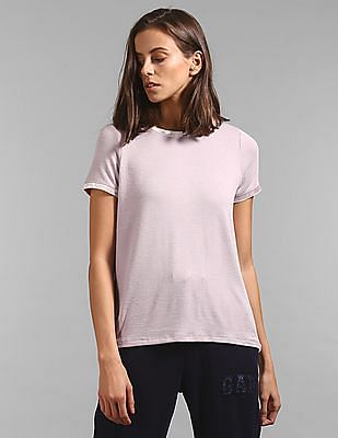GAP Softspun Velvet-Trim Crewneck T-Shirt