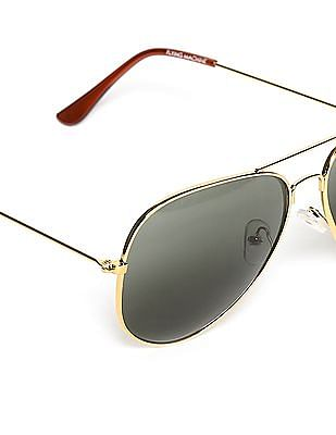 Flying Machine Gold Round Frame UV Protected Sunglasses